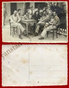 #18469 Greece 1950s. Military with relatives. Photo PC size