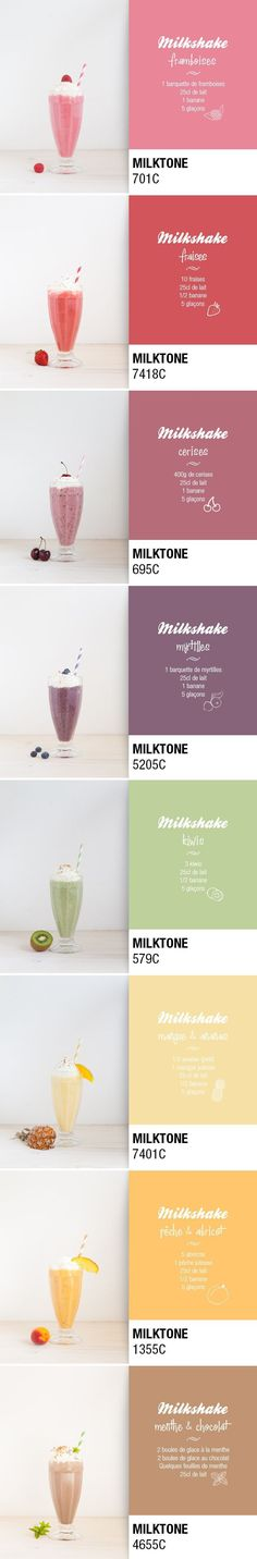 One milkshake a day via Pop and Soda. Ma palette de vitamines curated by Packaging Diva PD. This really isn't packaging but I couldn't resist these smoothies in Pantone colors including the recipe too Milk Shakes, Healthy Eating Tips, Healthy Nutrition, Vegetable Drinks, Juice Smoothie, Summer Drinks, Healthy Smoothies, Love Food, Sweet Recipes