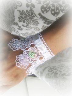 Floral lace cuff bracelet romantic bride by MalinaCapricciosa