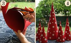 Small, cute, affordable and easy to construct, cardboard Christmas trees are a great alternative to the real deal, and make superb table decorations for those on hosting duties.  All you'll need to make a cardboard Christmas tree is an A2 piece of red cardboard (or any other colour that tickles your fancy), some sticky tape, a pair of scissors and for those who like the look of a polka dot tree – some white circular stickers; all of which can be found at office supply stores. Red, dots & Xma...