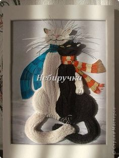 Quilled tomcats. I really want to know how the artist constructed the bodies.