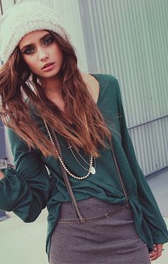 Beanie, lose knit long sleeve tee, high waisted skirt and body chain, perfection. Suspender Body Chain