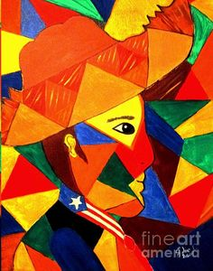 Original painting entitled Jibarito is by Julie Crisan.  Jíbaro is a term commonly used in Puerto Rico to refer to mountain-dwelling peasants, but in modern times it has gained a broader and, specifically, a nobler, cultural meaning. In this abstract the artist, who is Puerto Rican, honors, the Jibaro of her homeland with this abstract using colors as bright as the pride she has for her culture and its people. Contact the artist if you like what you see at  artbyjuliec.com