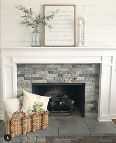 Change fireplace mantle make more modern See these gorgeous fireplaces and consider taking your own design to the next level. 65 Inspiring Fireplace Ideas To Keep You Warm. Brick Fireplace Makeover, Farmhouse Fireplace, Home Fireplace, Fireplace Remodel, Fireplace Design, Fireplace Ideas, Farmhouse Decor, Farmhouse Design, Farmhouse Style