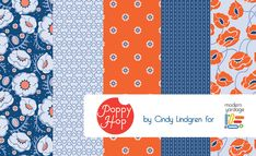 The Poppy Hop collection for Modern Yardage by Cindy Lindgren