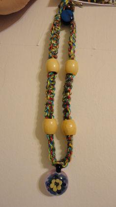 Flowerd glass hemp necklace by BackyardMud on Etsy, $25.00