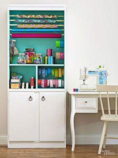 Transform an ordinary bookcase into a gift-wrapping and crafts supplies station with dowel rods.