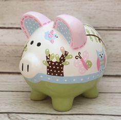 Alcancía personalizada artesanal Banco de cerámica pintado | Etsy
