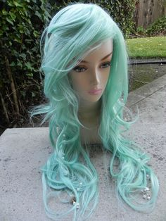 Seafoam Green Mermaid Wig / Long Curly Layered With Bubbles and Pearls