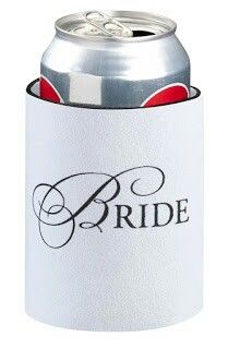 Bride Cup Cozy-This white neoprene cup cozy measures 4 tall and has a 3 diameter. It fits a standard-sized soft drink can. The word Bride is silk-screened onto one side. This cup cozy is packaged on a display card with a cut-out tab at the top fo Cozy Wedding, Gifts For Wedding Party, Wedding Ideas, Party Gifts, Fall Wedding, Wedding Bells, Wedding Stuff, Wedding Flowers, Wedding Planning