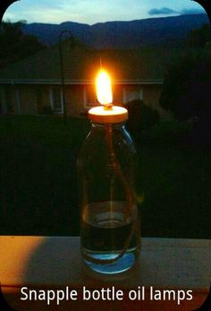 Snapple bottle oil lamps- Paint lid, make a hole in the lid with a nail, glue a small metal nut over hole (this will keep string up), thread string through the hole and nut, fill bottle with citronella oil/ paraffin and let string soak. Light it up and enjoy! Could do this with any glass jar with a lid.