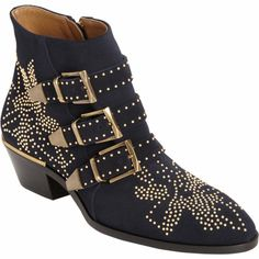 Chloé Suede Susan Studded Ankle Boot at Barneys.com