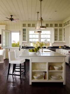 Terrific kitchen ceiling and cabinets.