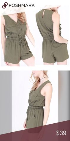 Olive sleeveless utility romper - zipper/pockets! Breast pockets v neck zip top detail with a drawstring waist- side slit pockets - cuffs and keyhole back closure- lots of pretty detail in this piece - fits true to size 65 poly 35 cotton Pants Jumpsuits & Rompers