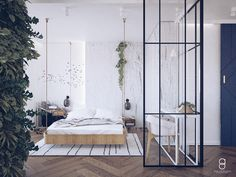Glass bedroom wall / industrial bedroom/ green wall Bedroom Green, Bedroom Wall, Industrial Bedroom, Divider, Glass, Anna, Furniture, Home Decor, Decoration Home