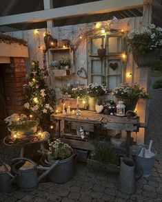 Country Decor, Rustic Decor, Greenhouse Shed, Porches, Outdoor Spaces, Summer Time, Backyard, Table Decorations, Pretty