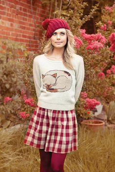fun sweater, plaid skirt, colored tights