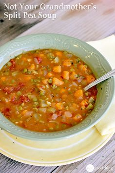 A delicious twist on the traditional split pea soup your grandmother might have made. No pureeing involved. :-)