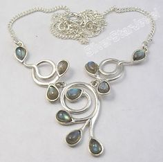 925 Sterling Silver Blue Fire Labradorite Gems Bestseller Necklace 16 3 4 Inches | eBay