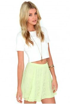 #missguidedus.com         #Skirt                    #Missguided #Jasmeen #Laser #Skater #Skirt #Lime    Missguided - Jasmeen Laser Cut Skater Skirt In Lime                           http://www.seapai.com/product.aspx?PID=1026383