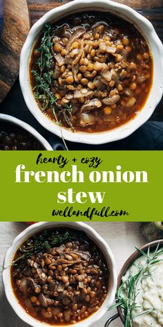 This Vegan French Onion Stew is packed with savory, plant-based flavor! It also doubles as a delicious gravy for Thanksgiving sides! Vegan Soups, Vegetarian Recipes, Healthy Recipes, Healthy Food, Best Lentil Recipes, Vegan Meals, French Lentils, Vegan French Onion Soup, French Lentil Soup
