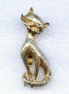 Vintage 1960s Kitty Cat Clear Swarovski Rhinestone Eyes Gold Tone Brooch Pin #Unbranded
