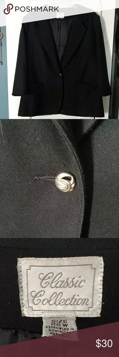 Classic Collection woman's black Blazer Gorgeous condition.  No rips or tears.   One button closure.  Button is a little loose but still works.  Two front pockets at hips.    Smoke free home.  This would pair great with the blue Lane Bryant short sleeve shirt in my closet! Classic Collection Jackets & Coats Blazers