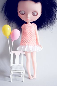 coral crochet dress with white ruffles for blythe by sugardollshop