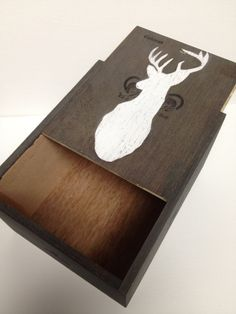 Have to remember this! a perfect boyfriend gift!!! Recycled cigar box with hand painted deer head by PuppyAntlers, $15.00