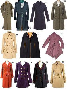 12 — пальто ольстер, 13 — пальто пальмерстон, 14 — классическое пальто пардессю, 15 — американское пальто поло, 16 — плащ, 17 — плащ-накидка, 18 — пыльник, 19 — пальто реглан, 20 — пальто редингот, 21 — пальто-принцесс, 22 — тренчкот