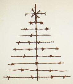 Barbed Wire Christmas Tree Holiday Rustic Door Art Wall Decor Sculpture | eBay