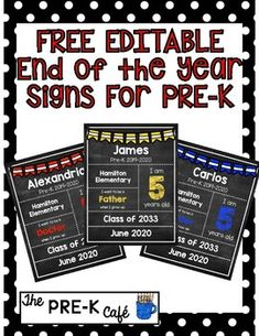 FREE EDITABLE End of the Year Signs for Pre-K! by The Pre-K Cafe | Teachers Pay Teachers