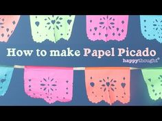 How to make your own DIY papel picado for parties or fiestas at home! Make Your Own, Make It Yourself, Diy Y Manualidades, Mexican Party, Fiesta Party, Youtube, How To Make Paper, Holiday Festival, Day Of The Dead