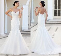 2015 White Mermaid Wedding Dresses Sexy Sweetheart Neck Corset Bodice With Applique Beaded Chapel Train Backless Bridal Gowns Custom #dhgatePin