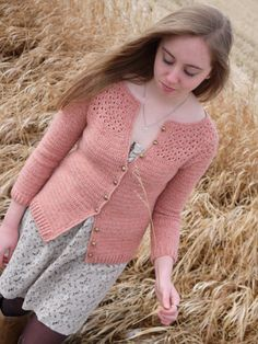 Eyelet Yoke Cardigan by Linda Permann | Crochet pattern on Tangled
