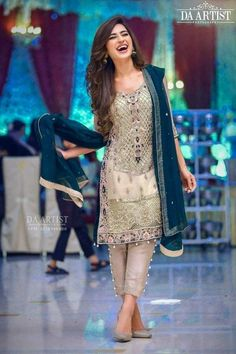 Wedding party dress in dark green and offwhite gray color Model 540 – Nameera by Farooq Pakistani Fancy Dresses, Fancy Wedding Dresses, Pakistani Wedding Outfits, Pakistani Dress Design, Indian Dresses, Indian Outfits, Formal Wedding, Wedding Wear, Salwar Suits Pakistani