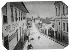 Rua de São João in São Paulo, photographed by Militão Azevedo in 1887. One wouldn't recognize it: today it's Avenida São João, one of São Paulo's most central avenues, ant the specific area pictured here is nowadays a pedestrian area surrounded by banks and administrative buildings.