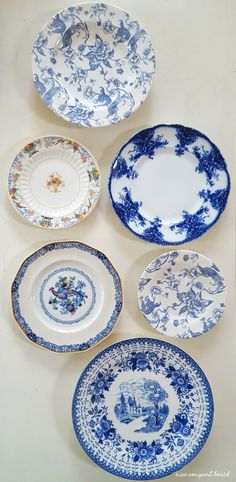 One of my weaknesses is vintage English bone china. I LOVE to collect plates and dishes, and boy did I find some treasures today! Blue And White China, Blue China, China Plates, Blue Plates, Plates On Wall, Plate Wall, Vintage Plates, Vintage Pyrex, English Decor
