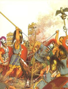 """A battle from the Gallic Wars, probably the siege of Alesia. - art by Peter Connolly, from his book """"The Roman Army""""."""