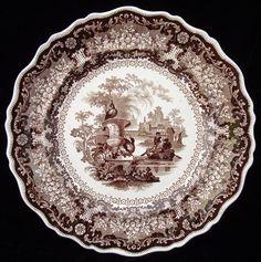 Brown Transferware Plates | Brown Staffordshire Transferware Plate Carolina 1835 | eBay Old Plates, China Plates, Pottery Plates, Old Bottles, Charger Plates, China Patterns, Vintage Ceramic, Decorative Plates, Ceramics