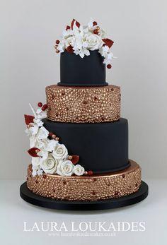 Beautiful Black & Copper Cake by Laura Loukaides. Ornate Pearl Effect Mould - Karen Davies Sugarcraft.