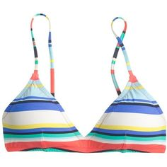 J.Crew Convertible French Bikini Top ($47) ❤ liked on Polyvore featuring swimwear, bikinis, bikini tops, swim suit tops, tankini swim tops, j crew swimsuit, bathing suits bikini and striped swimsuit