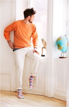 Argyle socks with orange and blue spots at Happy Socks for fun people Lots Of Socks, Funky Socks, Colorful Socks, Cool Socks, Men's Socks, Happy Socks, Male Fashion Trends, Mens Fashion, Crazy Socks For Men