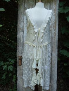 Romantic,Victorian,Bohemian,Cottage Chic,Long Lace,Crochet Vest,Upcycled,Eco Friendly
