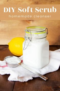 Learn how to make DIY soft scrub to clean your bathrooms and kitchen! This homemade scrub cleanser is perfect for cleaning dirt and grime, and REALLY is to make with three ingredients plus water. Homemade Scrub, Diy Scrub, Diy Cleaners, Cleaners Homemade, How To Make Diy, Natural Cleaning Products, Cool Diy Projects, Craft Tutorials, Cleaning Hacks