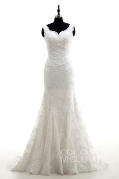 Queenly Trumpet-Mermaid Straps Natural Court Train Lace Ivory Sleeveless Open Back Wedding Dress Beading LD3991 #weddingdresses #cocomelody