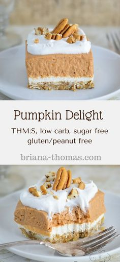 THM:S low carb sugar free gluten/peanut free Pumpkin Delight.THM:S low carb sugar free gluten/peanut free Desserts Nutella, Köstliche Desserts, Low Carb Desserts, Gluten Free Desserts, Low Carb Recipes, Delicious Desserts, Holiday Desserts, Sugar Detox Desserts, Trim Healthy Recipes