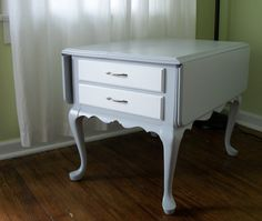 Wood Side Table Eco Refinish Gray Paint by KellyShermanDesign, $175.00