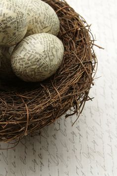 Dictionary paper mache eggs