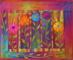 """Quilt Inspiration: Dances With Nature: The Quilts of Frieda Anderson -  """"Autumn Mums""""."""